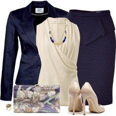 Vero Moda VEO MATORRE Blazer blueberry/blueberry skirt/cream top and pumps