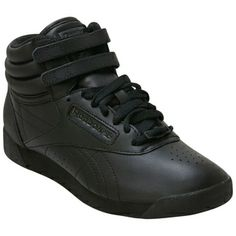 Black Reebok Women's Classics Freestyle Hi Black High-Top Sneaker shoes #healthgoth