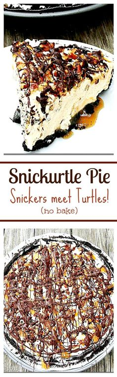 Snickurtle Pie - The marriage of two immensely yummy chocolate treats in one pie crust: Snickurtle Pie: Snickers meet Turtles. Get the recipe on diethood.com