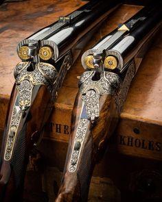 ・・・ 2 Westley Richards droplock double rifles with ammunition chambered. Weapons Guns, Guns And Ammo, Gun Art, Shooting Guns, Shooting Club, Game Shooting, Custom Guns, Fire Powers, Hunting Rifles