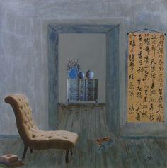"""""""Idéogrammes"""" by Marie Felba : Acrylique et collage sur toile de 30x30cm."""