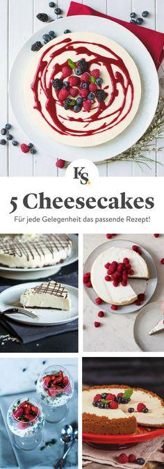 Von #NewYorkCheesecake bis #Käsekuchen im Glas, diese 5 tollen #Rezepte für #Cheesecake passen zu jeder Gelegenheit!