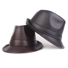 Men Winter Vintage PU Leather Curved Brim Jazz Cap British Style Warm Fedora  Top Hat is hot sale on Newchic Mobile. 0ccb15c3d3e