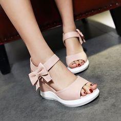 Heels: approx 9 cm Platform: approx 2 cm Color: White, Pink, Blue, Beige Size: U … Fancy Shoes, Pretty Shoes, Cute Shoes, Fashion Sandals, Sneakers Fashion, Kawaii Shoes, Mode Outfits, Comfortable Shoes, Girls Shoes