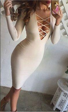 Dresses - Long Sleeved V-Neck Straps Bandage Dress - Rara Cabores Fashion Boutique - 1