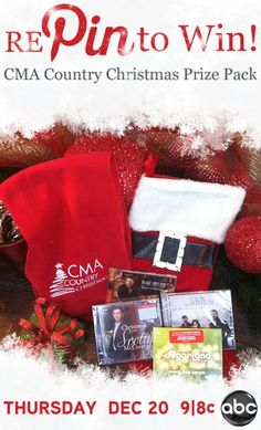 "REPIN for your chance to win this CMA stocking of Christmas goodies! A winner will be drawn after the Holidays. Good luck, and don't forget to watch ""CMA Country Christmas"" on December 20th at 9/8c on ABC!"