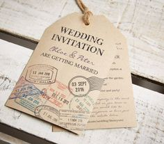Kraft wedding invite luggage tags with stamps for a travel themed wedding starting from £40 for design and personalisation on etsy https://www.etsy.com/uk/listing/502722035/vintage-style-kraft-luggage-tag-wedding?ref=shop_home_active_6