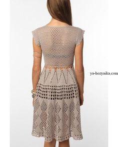 Красивое платье крючком схемы. Платье с подиума филейным узором