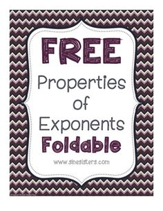 This foldable reinforces the properties of exponents with a fun foldable! Use in your Interactive Notebook or just for funsies!Directions included!