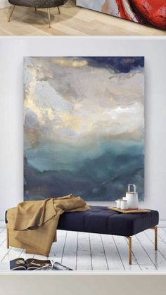 Minimalist scandi pottery, bench and oil painting with navy and copper accents - a . - Minimalist scandi pottery, bench and oil painting with navy and copper accents – a … # - Grand Art Mural, Navy And Copper, Copper Accents, Bachelor Of Fine Arts, Contemporary Abstract Art, Contemporary Artists, Large Wall Art, Large Abstract Wall Art, Abstract Art For Sale