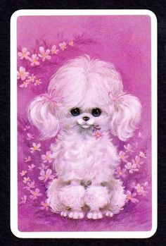 Cute White Poodle with Flowers