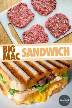 Big Mac Sandwich: Legendary burger in a new form - OptiGrill recipes - You will. - Big Mac Sandwich: Legendary burger in a new form – OptiGrill recipes – You will love the Big M - Big Mac, Big Sandwich, Grilled Sandwich, Deli Sandwiches, Burger Co, Homemade Burgers, Sandwich Recipes, Finger Foods, Meat Recipes