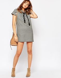 Image 4 of Pepe Jeans Stripe Dress With Lace Up Front