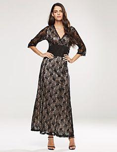 4739bc959bc Women s Plus Size V Neck Lace Maxi Long Dress Lace Maxi