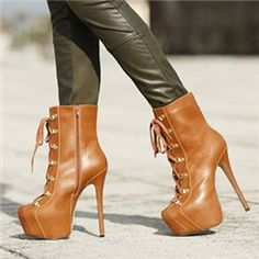 66.87 Ericdress Graceful Brown Lace-up High Heel Boots