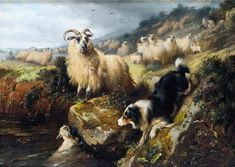 1800s oil painting, Collie with sheep.