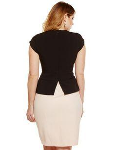 Eloquii Colorblock Asymetrical Peplum Sheath Dress