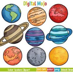 Solar System and Planet Clipart by Digital Mojo Solar System Clipart, Solar System Art, Solar System Planets, Solar System Painting, Space Party, Space Theme, Cartoon Spaceship, Solar System Projects For Kids, Planet Drawing