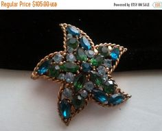 Now On Sale Regency Signed Starfish Brooch  by MartiniMermaid