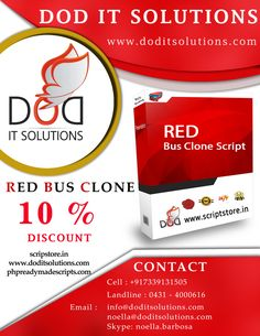 Winter offers  =============  Flat 10% discount on Redbus Clone Scripts both PHP and Asp.net.     Our Modules  ============   •User  •Guest User  •Wallet User  •Agent •Admin  •Super admin  •Affiliate User    Check our product at below given links: http://scriptstore.in/product/redbus-clone/ http://scriptstore.in/product/asp-net-redbus-clone/ http://www.doditsolutions.com/redbus-clone/ http://phpreadymadescripts.com/red-bus-clone.html http://phpreadymadescripts.com/asp-net-redbus-clone-478.h