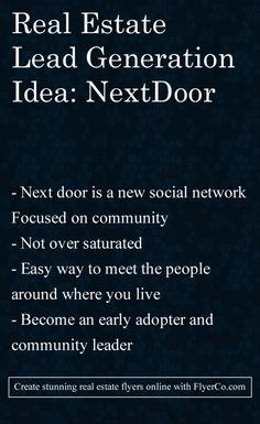 Real Estate Lead Generation Idea Fridays #4 Nextdoor Social by https://flyerco.com #realestate #realtor