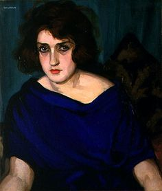 1922 Portrait of a Young Lady in a Blue Dress by Tamara de Lempicka