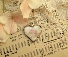 Broken China Pendant  Heart Pendant  Sterling by AbbyHannahVintage