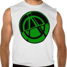 Green Anarchy Symbol Sleeveless Tee Tank Tops