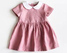 Baby Linen Dress, Toddler Linen Dress, Baby Girl Clothes, Rose Pink Baby Dress, Peter Pan Collar, White Collar, Kids Linen, Birthday Dress