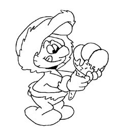 Ice Cream Coloring Pages smurf holding ice cream cone