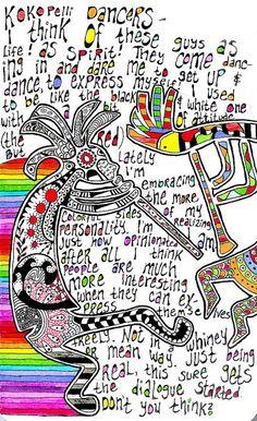 "Rainbow! Love this! ""Kokopelli Dancers"" by A-dab-adu."
