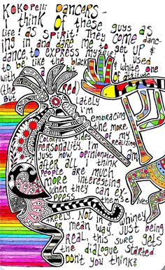 "Rainbow! Love this! ""Kokopelli Dancers"" by A-dab-adu."