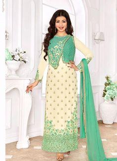 Ayesha Takia Cream and Sea Green Indian Bollywood Salwar Suit Salwar Dress, Churidar Suits, Anarkali, Salwar Kameez, Patiala, Kurti, Designer Suits Online, Designer Salwar Suits, Designer Dresses