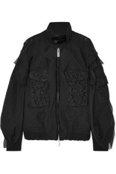 Sacai | Velvet-trimmed chiffon and lace bomber jacket | NET-A-PORTER.COM