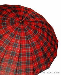 Umbrella, Tartan, Wooden Handle