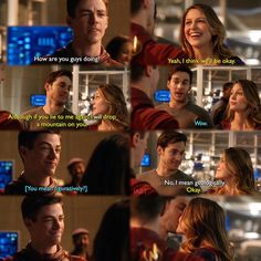 """""""I think we'll be okay. Although if you lie to me again, I will drop a mountain on you"""" - Kara, Mon-El and Barry #TheFlash"""