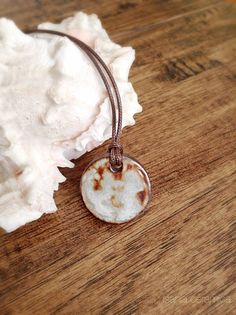 froth on rust  Ceramic Pendant Necklace by isaniaceramica on Etsy  artisan jewelry