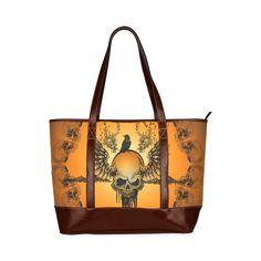 Amazing skull with crow Tote Handbag (Model 1642) Texture Design 7922de8b81706
