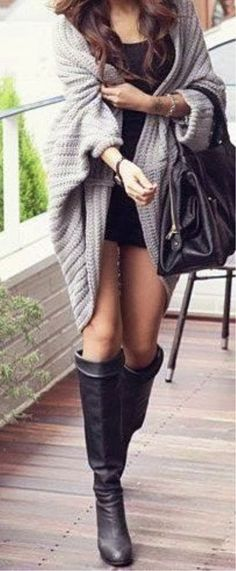 Oversized Knit Cardigan With Long Boots