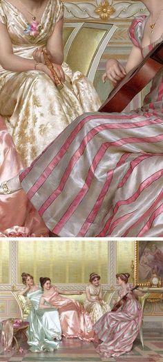 """""""La Soire"""" - Vittorio Reggianini (Italian, 1858-1938), oil on canvas {figurative female décolletage women painting detail #nineteenthcentury #twentiethcentury #arthistory} Textures !! #OilPaintingFashion"""