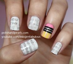 Great idea for back to school nails!