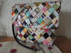 Recycling, Taschen, Flechttasche, upcycling, Zeitschriften, candy wrapper, Taskeflet