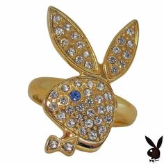 Playboy Ring Bunny Logo Swarovski Crystals Gold Plated Adjustable Size 5.5 to 9 #Playboy #Statement