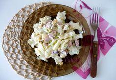 Kukoricás-virslis tésztasaláta Penne, Feta, Potato Salad, Ale, Grains, Potatoes, Mint, Ethnic Recipes, Peppermint