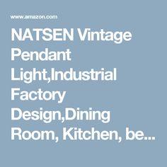 NATSEN Vintage Pendant Light,Industrial Factory Design,Dining Room, Kitchen, bedroom,black Metal Chandelier, Ceiling hanging lights