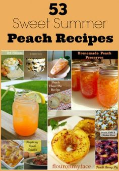 53 Sweet Summer Peach Recipes-Flour On My Face~T~ Some good recipes here.