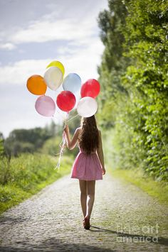 Woman Photograph - Beautiful Young Woman With Balloons by Lee Avison