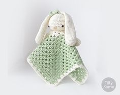 Lovely Bunny Lovey Pattern | Security Blanket | Crochet Lovey | Baby Lovey Toy | Blanket Toy | Lovey Blanket PDF Crochet Pattern