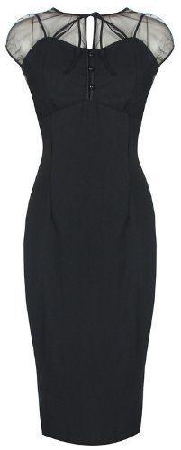 Lindy Bop 'Pandora' Glamourous Vintage 1950's Style Black Pencil Wiggle Dress: Amazon.co.uk: Clothing