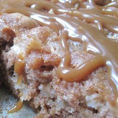 German Carmel Apple Cake (Carmel recipe is below in the #1 comment).  Yum!!!  (MSL made this on 8/13/13 Glazed w/ 1/2 c butter, 1/4 c cream, 1/2c brown sugar boil 3min and add 1/2t vanilla) GREAT!!
